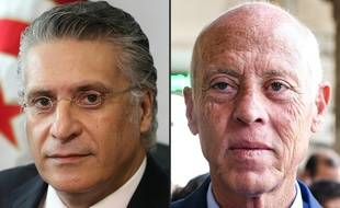 Les deux candidats à l'élection présidentielle tunisienne, Nabil Karoui,  (à gauche) et Kais Saied (à droite).