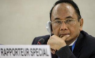 Makarim Wibisono, rapporteur spécial de l'ONU sur la situation des droits de l'Homme dans les Territoires, le 23 mars 2015 à Genève