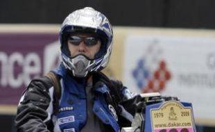 Le motard Pascal Terry à Buenos Aires, le 31 décembre 2008.