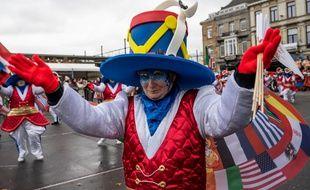 Un participant au carnaval d'Alost, en Belgique, le 23 février 2020.