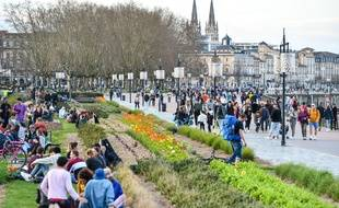 Les quais de Garonne, à Bordeaux, au premier jour du confinement en mars 2020.