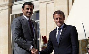 Emmanuel Macron et l'émir du Qatar, cheikh Tamim ben Hamad al-Thani