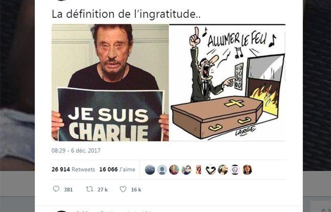 Capture d'écran d'un tweet montant un photomontage d'une photo de Johnny Hallyday et d'un dessin humoristique publié par «Charlie Hebdo» en 2009.