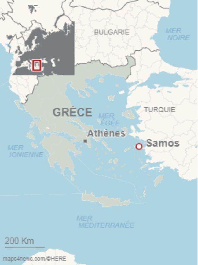 L'île de Samos en Grèce. (Illustration)