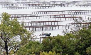 Vue générale d'un parc à huîtres dans l'étang de Thau à Marseillan prise le 16 août 2008.