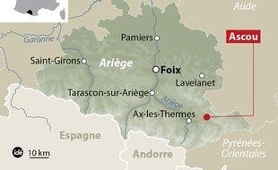 Carte de Localisation d'Ascou dans l'Ariège