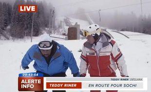 Teddy Riner annonce sa participation aux JO de Sotchi dans un canular mis en ligne le 4 février 2014.