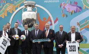 Les dirigeants européens ont présenté les villes hôtes de l'Euro 2020 de football, le 7 décembre 2017 à Munich.