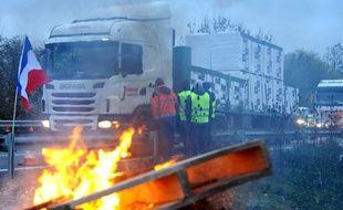 Photo d'illustration d'un blocage de gilets jaunes. FRANCOIS LO PRESTI