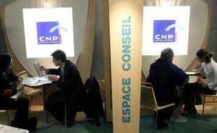 Stand CNP Assurances au salon Actionaria à Paris.