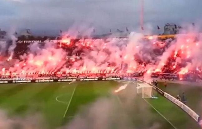 Video stade enflamm et jets de harengs morts quand les for Paok salonique