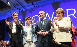 Angela Merkel au coté de ses alliés pendant la campagne européenne, le 24 mai 2019