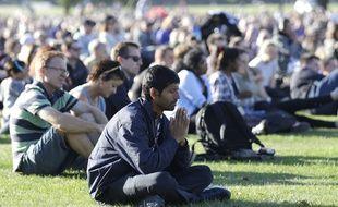 Prière en hommage aux victimes de la tuerie de Christchurch, en Nouvelle-Zélande, le 24 mars 2019.
