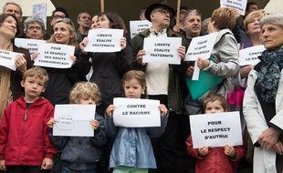 Manifestation de soutien aux roms apres l expulsion d un camp situe a Saint Herblain.S.SALOM-GOMIS/SIPA