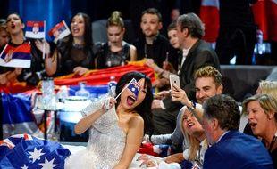 Dami Im, représentante de l'Australie à l'Eurovision 2016, lors de la demi-finale du 12 mai à l'Ericsson Globe Arena.