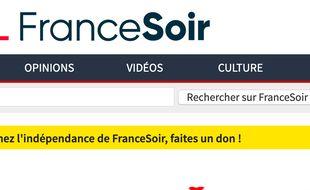 La page d'accueil du site de FranceSoir
