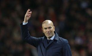 Zinédine Zidane lors de PSG-Real Madrid en 8e de finale retour de la Ligue des champions, le 6 mars 2018.