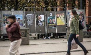 Panneaux électoraux le 1er décembre 2015 à Lille