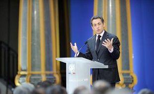 Nicolas Sarkozy lors de ses voeux au monde de la culture et de l'éducation nationale, le 19 janvier 2011, à Paris