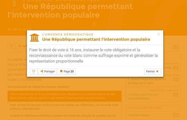 Capture d'écran du site programmatique de la France Insoumise