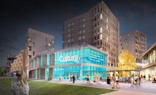 Image de synthèse du nouveau magasin Cultura au sein du quartier Ginko