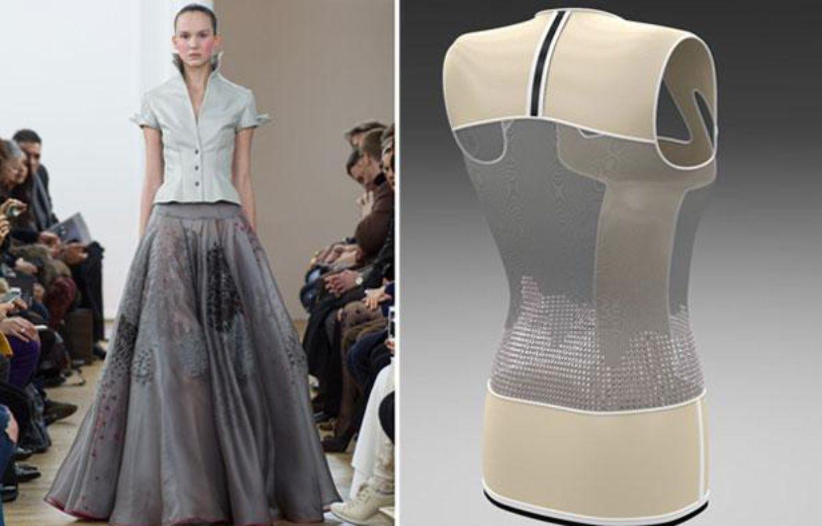 Défilé haute couture Julien Fournié le 21 janvier 2014 et mannequin en 3D développé par le couturier et le FashionLab. – Pixelformula/Julien Fournié/Fashion Lab
