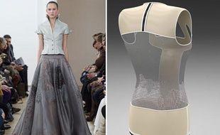 Défilé haute couture Julien Fournié le 21 janvier 2014 et mannequin en 3D développé par le couturier et le FashionLab.