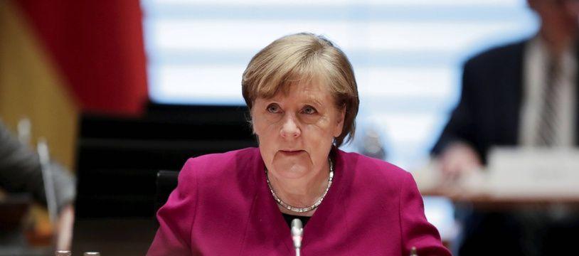 La chancelière allemande Angela Merkel à Berlin le 31 mars 2021.