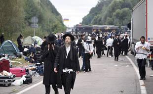 Des pèlerins juifs bloqués à la frontière entre la Biélorussie et l'Ukraine, le 15 septembre 2020.