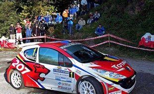 La Peugeot 207 de Nicolas Vouillioz, lors d'un rallye en Espagne, le 13 septembre 2008.