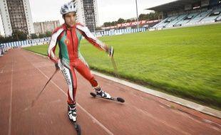 Le skieur marocain Samir Azzimani, le 1er octobre 2013 au stade Yves Dumanoir.