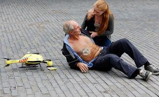Le drone ambulance, présenté à Delft, aux Pays-Bas, le 28 octobre 2014.