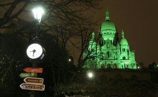 Le Sacré-Coeur à Paris illuminé le 16 mars 2016