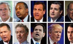 Les 10 candidats en tête des sondages pour les primaires au sein du parti Républicain en vue de la présidentielle américaine de 2016.