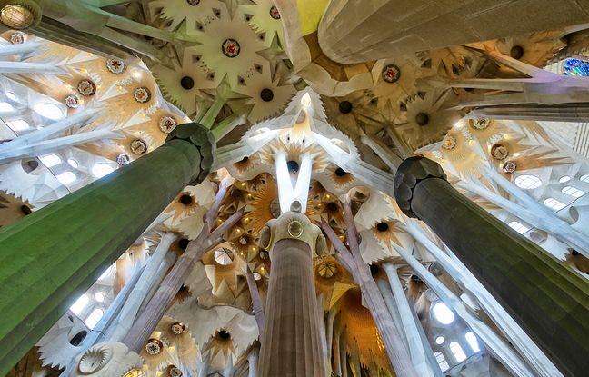 Une véritable forêt de colonnes ramifiées évite de recourir aux arcs-boutants pour supporter les voûtes de la Sagrada Familia.