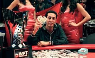 Le Marocain Mohamed Ali Houssam lors de sa victoire au World Poker Tour Marrakech, dimanche 27 novembre 2011