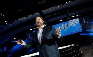 Le PDG de Salesforce, Marc Benioff, lors de la conférence Dreamforce, le 19 septembre 2012.
