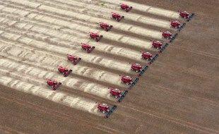 Des moissonneuses-batteuses récoltent du soja dans une ferme à Campo Novo do Parecis, à environ 400 km au nord-ouest de la capitale Cuiaba, dans le Mato Grosso, au Brésil, le 27 mars 2012.