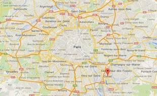 Google Map de Créteil, dans le Val-de-Marne.