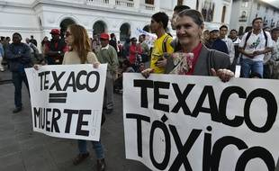 Manifestation contre le groupe Chevron, à Quito, en Equateur, le 21 mai 2014.