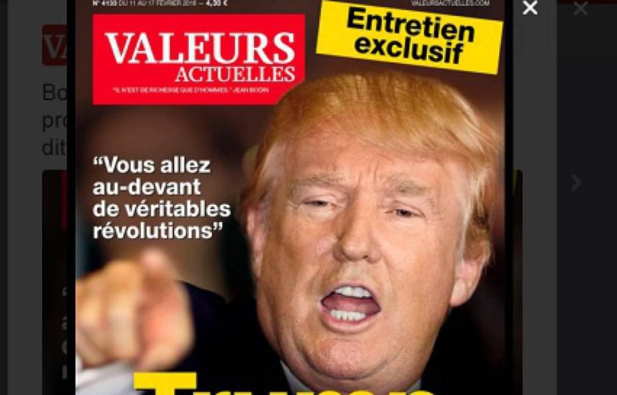 Capture d'écran de la couverture du prochain numéro de Valeurs Actuelles. – DR