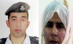 Montage en date du 28 janvier 2015 de portraits du pilote jordanien Maaz al-Kassasbeh et de l'Irakienne Sajida al-Rishawi