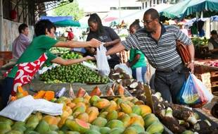 Illustration d'un marché de Cayenne, en Guyane française le 27 juin 2011