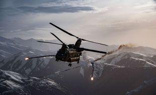 Un hélicoptère américain lors d'un exercice d'entraînement en Afghanistan, en mars 2018.