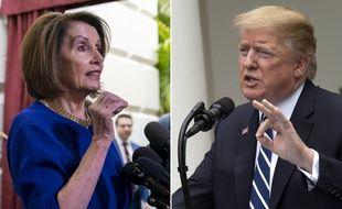 La cheffe des démocrates au Congrès, Nancy Pelosi, et Donald Trump, le 22 mai 2019 (photomontage).