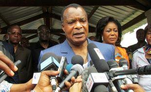 Le président congolais Denis Sassou Nguessou le 25 octobre 2015 à Brazzaville, après avoir voté