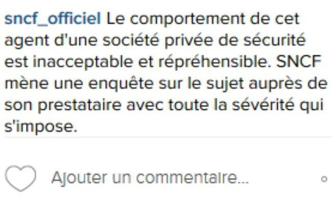 Réaction de la SNCF à la vidéo de l'agression d'un marginal postée sur Instagram