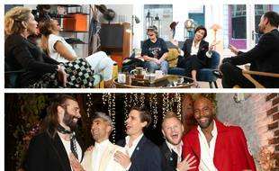 Sur le tournage de «Incroyables Transformations» (en haut) et les cinq experts de «Queer Eye» version Netflix.