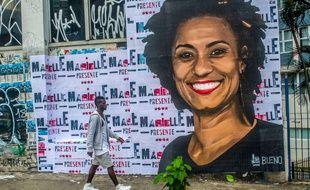 Un portrait de Marielle Franco dans les rues de Rio.