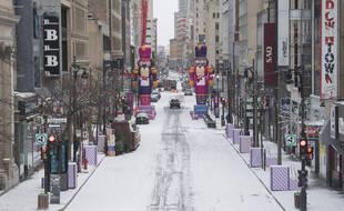 Une rue de Montréal inhabituellement vide, le 26 décembre 2020.